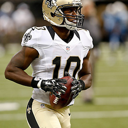 Aug 15, 2014; New Orleans, LA, USANew Orleans Saints wide receiver Brandin Cooks (10) warms up before a preseason game against the Tennessee Titans at Mercedes-Benz Superdome. Mandatory Credit: Derick E. Hingle-USA TODAY Sports