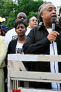 Nicole Paultre-Bell and Rev. Al Sharpton at the Critical Mass and The National Action Network(NAN) join forces for The Critical Mass monthly civil disobedience ride to protest the Not Gulity verdict of NYPD shooting death of Sean Bell, and critically injuring Joseph Guzman and Trent Benefield at 14th Streeet Union Square on May 30, 2008 ..Critical Mass is an event typically held on the last Friday of every month in cities around the world where bicyclists and other self-propelled commuters take to the streets en masse. While the ride was originally founded with the idea of drawing attention to how unfriendly the city was to bicyclists,[1] the leaderless structure of Critical Mass makes it impossible to assign it any one specific goal. In fact, the purpose of Critical Mass is not formalized beyond the direct action of meeting at a set location and time and traveling as a group through city or town streets.