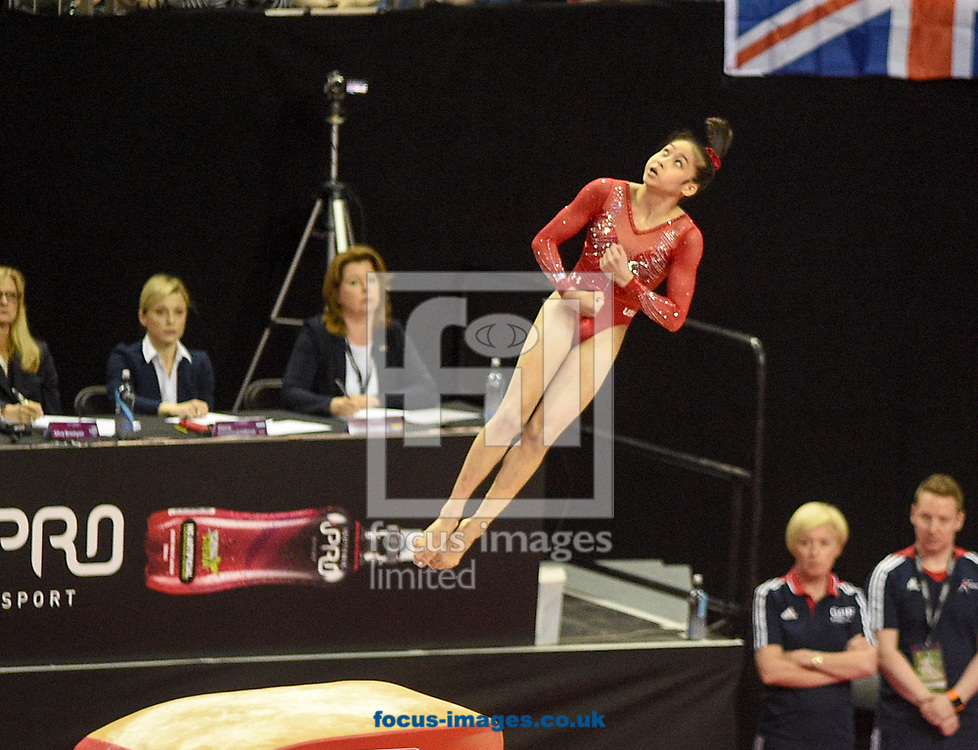 Liu Jinru on the vault Women's iPro World Cup of Gymnastics 2017 at the O2 Arena, London, UK.<br /> Picture by Hannah Fountain/Focus Images Ltd 07814482222<br /> 08/04/2017