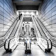 Escalators at Forum metro station in Copenhagen