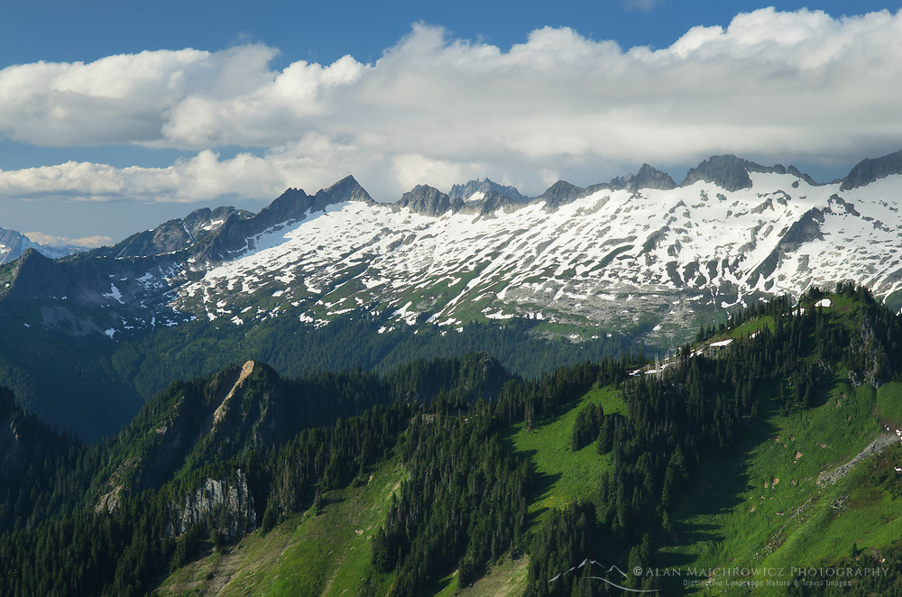 View of ridge north of Dorado Needle seen from Hidden Lake Peak, North Cascades Washington
