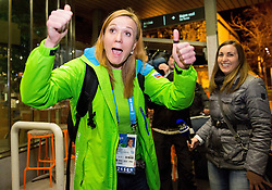 Petra Majdic at reception of Slovenia team arrived from Winter Olympic Games Sochi 2014 on February 25, 2014 at Airport Joze Pucnik, Brnik, Slovenia. Photo by Vid Ponikvar / Sportida