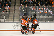 The RIT Men's Hockey team celebrates a goal in the second period of a game against Brock University at the Gene Polisseni Center on Saturday, October 4, 2014.