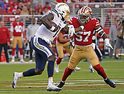 Los Angeles Chargers quarterback Cardale Jones (7) runs with the ball while San Francisco 49ers linebacker Dre Greenlaw (57) defends during an NFL football game, Thursday, Aug. 29, 2019, in Santa Clara, Calif. (Dylan Stewart/Image of Sport)