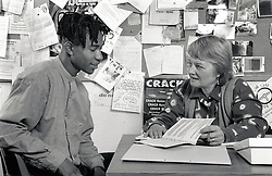 Advice service for teenage boy, Nottingham, UK 1990s