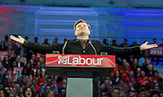 Ed Miliband <br /> Leader of the Labour Party <br /> Campaign Event at The Royal Horticultural Halls, 80 Vincent Square, London, SW1P 2PE<br /> 2nd May 2015 <br /> <br /> Ed Miliband MP <br /> Labour Leader <br /> General Election Campaign 2015 <br /> <br /> Mathew Horne <br /> actor <br /> <br /> Photograph by Elliott Franks <br /> Image licensed to Elliott Franks Photography Services