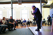 Republican presidential candidate Gov. Chris Christie, R-N.J., speaks to employees at a town hall meeting at Dyn Inc in Manchester, New Hampshire Monday, Feb. 8, 2016.  CREDIT: Cheryl Senter for The New York Times