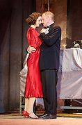The Sting <br /> at the newly re-opened<br /> Wilton's Music Hall, London, Great Britain <br /> Press photocall <br /> 11th September 2015 <br /> <br /> Bob Cryer as Gondorff<br /> <br /> Hannah Brackstone-Brown as Billie <br /> <br /> Photograph by Elliott Franks <br /> Image licensed to Elliott Franks Photography Services