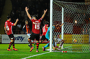 Luton score an injury time winner during the Sky Bet League 2 match between Exeter City and Luton Town at St James' Park, Exeter, England on 19 December 2015. Photo by Graham Hunt.
