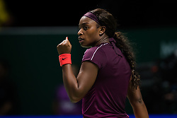 October 25, 2018 - Kallang, SINGAPORE - Sloane Stephens of the United States in action during her second match at the 2018 WTA Finals tennis tournament (Credit Image: © AFP7 via ZUMA Wire)