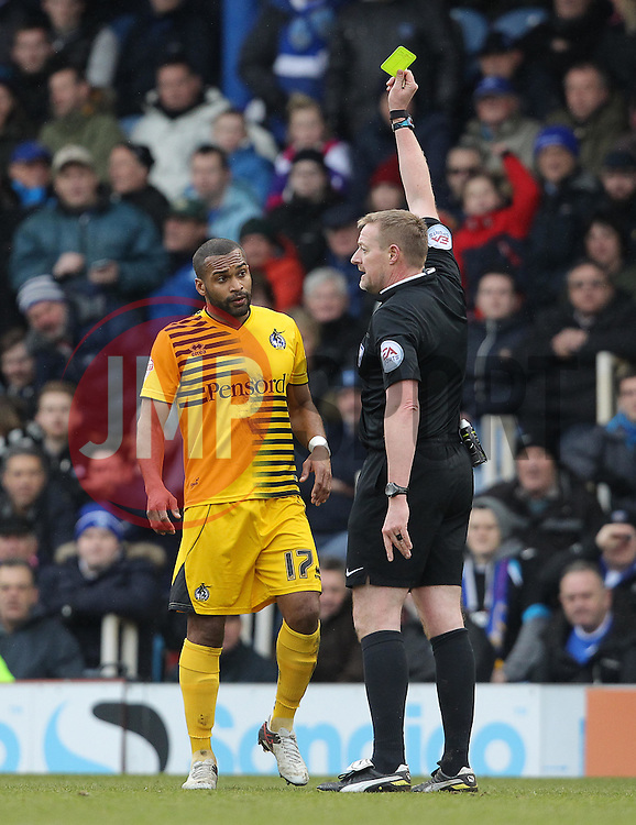 Jermaine Easter of Bristol Rovers is shown a yellow card - Mandatory byline: Paul Terry/JMP - 13/02/2016 - FOOTBALL - Fratton Park - Portsmouth, England - Portsmouth v Bristol Rovers - Sky Bet League Two