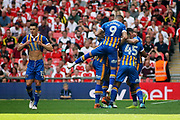 Shrewsbury celebrate a Shrewsbury Town midfielder Alex Rodman (23) goal to make it 1-1 during the EFL Sky Bet League 1 play-off final match between Rotherham United and Shrewsbury Town at Wembley Stadium, London, England on 27 May 2018. Picture by Nigel Cole.