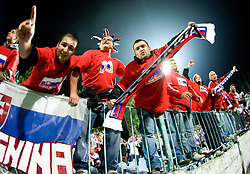 Slovakian fans at  the 2010 FIFA World Cup South Africa Qualifying match between Slovakia and Slovenia, on October 10, 2009, Tehelne Pole Stadium, Bratislava, Slovakia.  (Photo by Vid Ponikvar / Sportida)