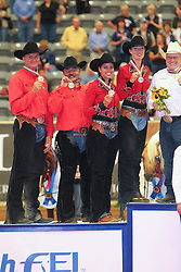 Podium Team Competition Reining second team Belgium Boogaerts Jan - Gumpy Grumpy BB, Poels Ann - Whizdom Shines, Baeck Cira - Peek a Boom, Fonck Bernard - BA Reckless Chick<br /> Alltech FEI World Equestrian Games <br /> Lexington - Kentucky 2010<br /> © Dirk Caremans