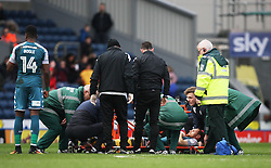 Shaun MacDonald of Wigan Athletic is stretchered off injured - Mandatory by-line: Jack Phillips/JMP - 04/03/2017 - FOOTBALL - Ewood Park - Blackburn, England - Blackburn Rovers v Wigan Athletic - Football League Championship