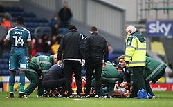 Shaun MacDonald of Wigan Athletic is stretchered off injured - Mandatory by-line: Jack Phillips/JMP - 04/03/2017 - FOOTBALL - Ewood Park - Blackburn, England - Blackburn Rovers v Wigan Athletic - Football League Championship