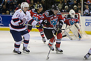 KELOWNA, CANADA - NOVEMBER 26:  Rodney Southam #17 of the Kelowna Rockets and Riley Woods #13 of the Regina Pats at the Kelowna Rockets game on November 26, 2016 at Prospera Place in Kelowna, British Columbia, Canada.  (Photo By Cindy Rogers/Nyasa Photography,  *** Local Caption ***