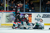 KELOWNA, CANADA - OCTOBER 10:  Matthew Wedman #21 of the Seattle Thunderbirds falls to the ice in front of the net of Roman Basran #30 of the Kelowna Rockets during second period on October 10, 2018 at Prospera Place in Kelowna, British Columbia, Canada.  (Photo by Marissa Baecker/Shoot the Breeze)  *** Local Caption ***