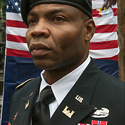 African American Major wearing his military decorations at Veteran Day Parade.  <br />