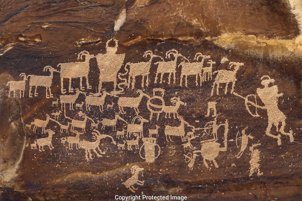 The Big Hunt, petroglyph, Nine Mile Canyon, Utah
