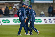 The Scotland players leave the field as rain stops play during the One Day International match between Scotland and Afghanistan at The Grange Cricket Club, Edinburgh, Scotland on 10 May 2019.