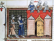 Knights Templar before Jerusalem: Saracens on the battlements, 11th century, lst Crusade. 14th century manuscript from 'Roman de Godefroy de Bouillon'