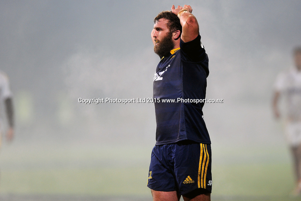 Liam Coltman of the Highlanders looks on, during the Super Rugby Match between the Highlanders and the Chiefs, held at Rugby Park, Invercargill, New Zealand, 30th May 2015. Credit: Joe Allison / www.Photosport.co.nz