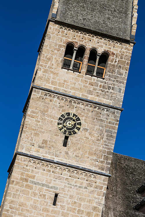 The bell tower of the church in central Zell Am See
