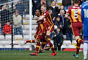 Goal celebration by Dominic Poleon of Bradford City   during the EFL Sky Bet League 1 match between Bradford City and Gillingham at the Northern Commercials Stadium, Bradford, England on 24 March 2018. Picture by Paul Thompson.