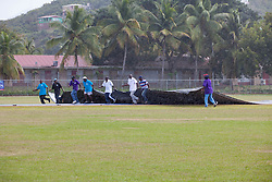A rain delay, postphones the game until after lunch.  Windwards vs. Leewards at the WICB Professional Cricket League Regional 4-Day Tournament on Monday, February 22, 2016 at the Addelita Cancryn Junior High School.  © Aisha-Zakiya Boyd