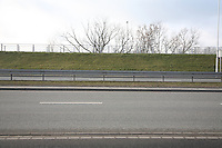 View of crash barrier on highway