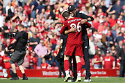 Liverpool defender Andrew Robertson (26) gets his Liverpool Manager Jurgen Klopp hug at the end of the Premier League match between Liverpool and Newcastle United at Anfield, Liverpool, England on 14 September 2019.