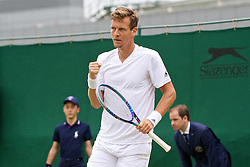 LONDON, ENGLAND - Wednesday, June 29, 2016: Tomas Berdych (CZE) celebrates winning a point during the Gentlemen's Singles 1st Round match on day three of the Wimbledon Lawn Tennis Championships at the All England Lawn Tennis and Croquet Club. (Pic by Kirsten Holst/Propaganda)