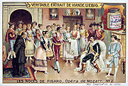 Scene from Mozart's opera 'The Marriage of Figaro' 1786  (1905).  'The Marriage of Figaro' 1786  (1905).  (Le Nozze di Figaro), comic opera (opera buffa) with libretto by Lorenzo da Ponte (1749-1838) after Beaumarchais, first performed on l May 1786 at the Burgtheater, Vienna.  A group of peasants led by Figaro and Susanna sing Count Almaviva's praises and to entreat him not to dismiss the page Cherubino from his service.  He relents to the extent that he gives him a commission in his regiment. From 'Les Noces de Figaro', one of set of trade cards issued by Liebig & Co, 1905.