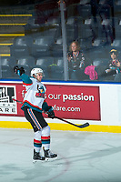 KELOWNA, CANADA - FEBRUARY 20: Erik Gardiner #12 of the Kelowna Rockets celebrates a second period goal against the Prince George Cougars on February 20, 2018 at Prospera Place in Kelowna, British Columbia, Canada.  (Photo by Marissa Baecker/Shoot the Breeze)  *** Local Caption ***