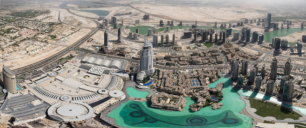 Looking down on urban landscape adjacent to Dubai Mall from Burj Khalifa at Downtown Dubai United Arab Emirates