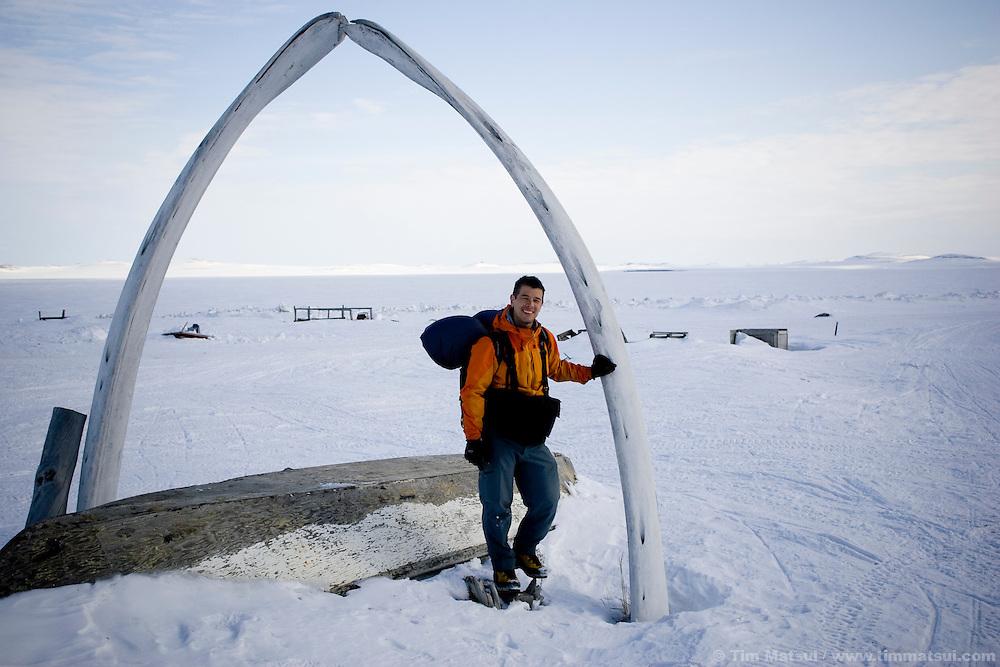 Kivalina, Alaska, beneath Bowhead whale jaw bones.
