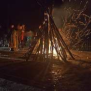 Mongolia. shamanist ceremony in front of fire place  in terelg