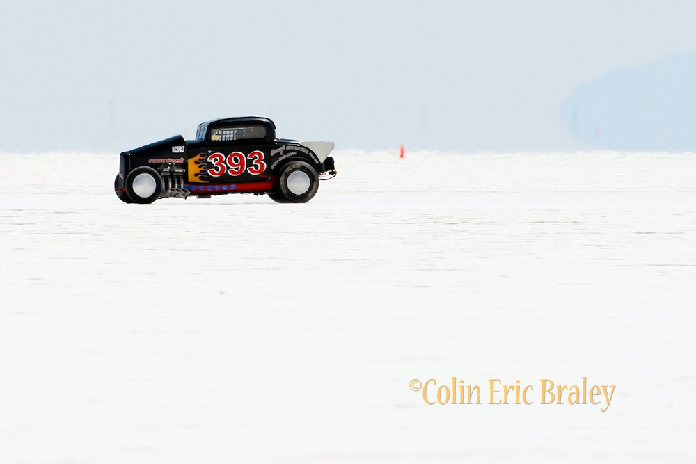 Best cars-people-atmosphere-photos of 2009 Bonneville Speed Week- A 1932 Ford, 392, owned and driven by Chuck Walbridge of Fort Wayne Indiana, makes a run at the Bonneville Speed Way. August 9, 2009.  Photo by Colin E. Braley