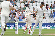 Joe Root of England caught KL Rahul of India bowled Jasprit Bumrah of India during the 3rd International Test Match 2018 match between England and India at Trent Bridge, West Bridgford, United Kingdon on 21 August 2018.
