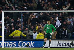 MANCHESTER, ENGLAND - Tuesday, December 18, 2007: Manchester City's goalkeeper Joe Hart looks dejected after Tottenham Hotspur score the second goal during the League Cup Quarter Final match at the City of Manchester Stadium. (Photo by David Rawcliffe/Propaganda)