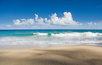 Waves rolling on to Hanakapiai Beach on Northwest Kauai's Na Pali Coast, Hawaii.