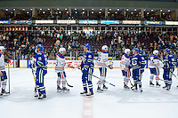 PENTICTON, CANADA - SEPTEMBER 16: The Edmonton Oilers shake hands with the Vancouver Canucks on September 16, 2016 at the South Okanagan Event Centre in Penticton, British Columbia, Canada.  (Photo by Marissa Baecker/Shoot the Breeze)  *** Local Caption ***