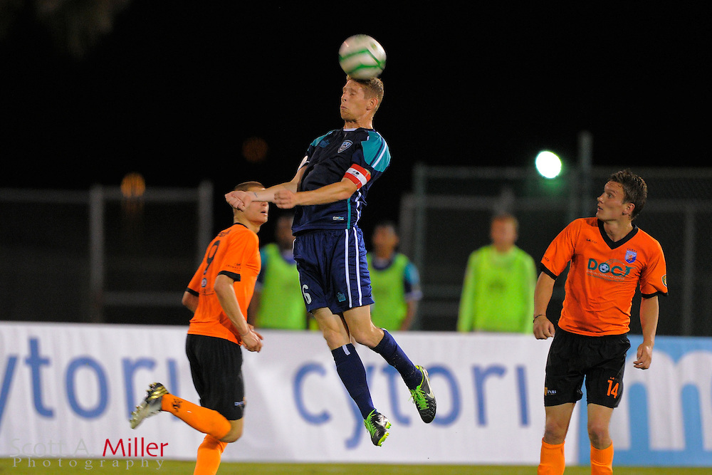 VSI Tampa Bay FC defender Kyle Hoffer (6) goes airborne for a ball during USL-Pro soccer game at the Plant City Stadium in Plant City, Florida April 26, 2013. Dayton won 1-0....©2013 Scott A. Miller