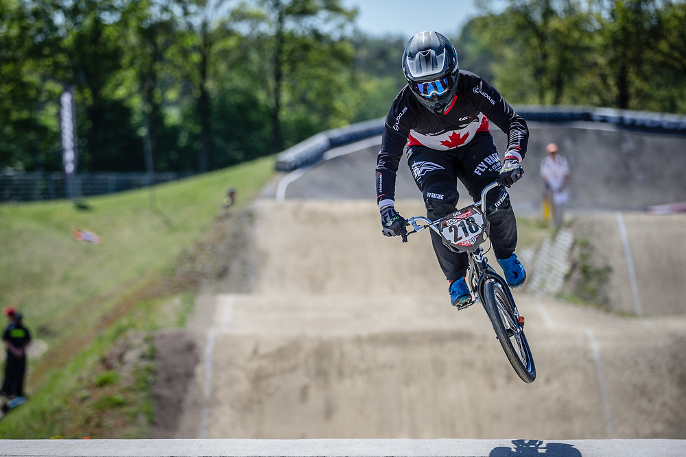 #218 (WEBBER Aidan) CAN at Round 4 of the 2018 UCI BMX Superscross World Cup in Papendal, The Netherlands