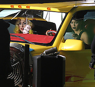 "January 28th 2010. Lancaster, CA.  **EXCLUSIVE**  Lady Gaga And Beyonce Knowles on set of the music video shoot for ""Telephone"". Gaga and Beyonce filmed acting, performance and dancing scenes inside a a desert road side diner on the outskirts of LA then the duo filmed scenes inside a truck named the ""Pussy Wagon"". The truck is the same one used by Uma Thurman in the film ""Kill Bill"" and now owned by Quinten Tarintino who loaned it to Lady GaGa for the video shoot. Actor/Model Tyreese was also seen on set during Diner scene. The next day Lady Gaga filmed a female prison shower scene for the video. Photo by Eric Ford/ On Location News 818-613-3955 info@onlocationnews.com"