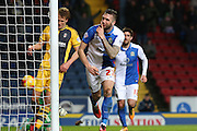Shane Duffy of Blackburn Rovers scores the second goal during the Sky Bet Championship match between Blackburn Rovers and Fulham at Ewood Park, Blackburn, England on 16 February 2016. Photo by Simon Brady.