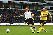 Millwall midfielder Jed Wallace (7) shoots at goal  during the EFL Sky Bet Championship match between Derby County and Millwall at the Pride Park, Derby, England on 14 December 2019.