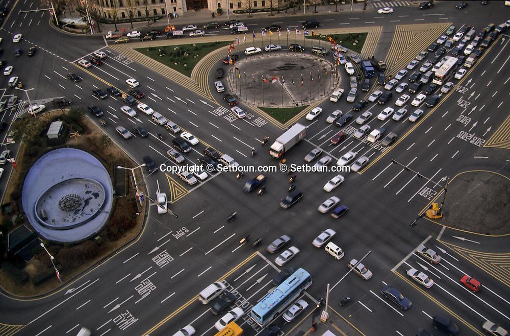 city hall, main square///aerial view  Séoul  Korea   la place centrale city hall , vue aerienne et la nuit. Séoul vue d'en haut  Séoul  coree depuis l'hotel ///R20135/    L0006921  /  P105191