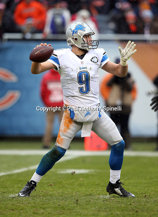 Detroit Lions quarterback Matthew Stafford (9) throws a fourth quarter pass for a first down during the NFL week 17 regular season football game against the Chicago Bears on Sunday, Jan. 3, 2016 in Chicago. The Lions won the game 24-20. (©Paul Anthony Spinelli)
